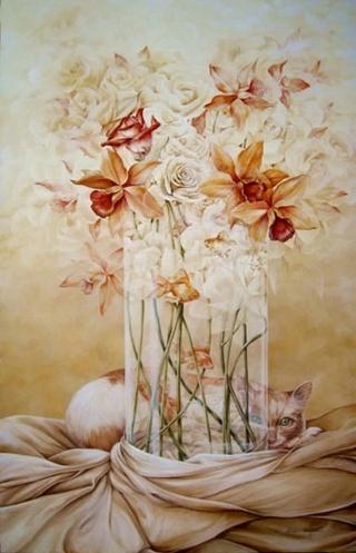 Bouquet dans un vase, une corbeille, une coupe, une poterie  Chel_n10
