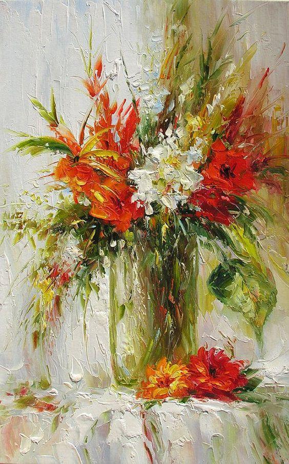 Bouquet dans un vase, une corbeille, une coupe, une poterie  - Page 2 D3ba9b11