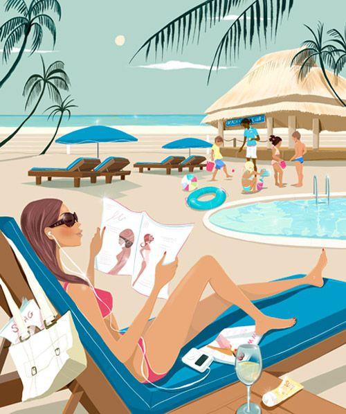 """Illustrations ... pour l'été ... Plage et """"farniente"""" ... F6507110"""