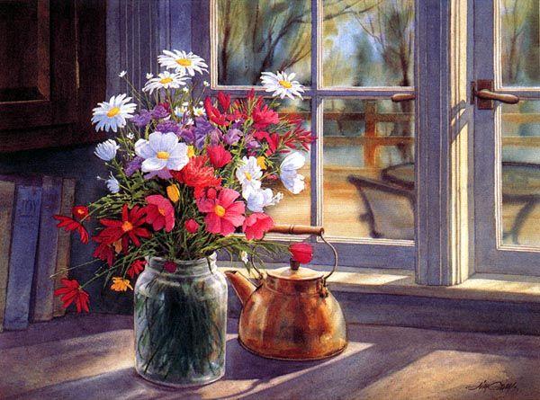 Bouquet dans un vase, une corbeille, une coupe, une poterie  Fl_art10