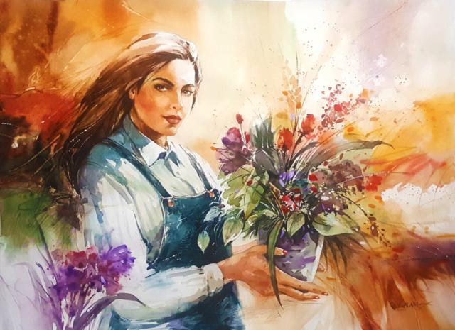 Bouquet dans un vase, une corbeille, une coupe, une poterie  Flower11
