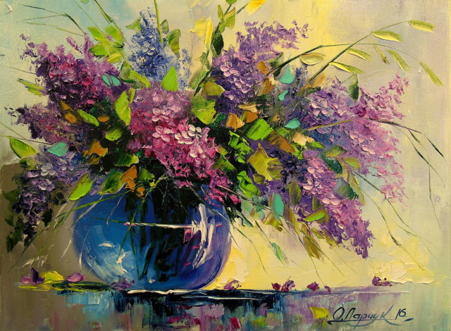 Bouquet dans un vase, une corbeille, une coupe, une poterie  - Page 2 Lilac-10