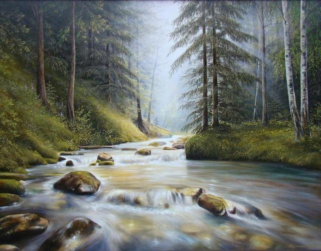 L'eau paisible des ruisseaux et petites rivières  Mounta10