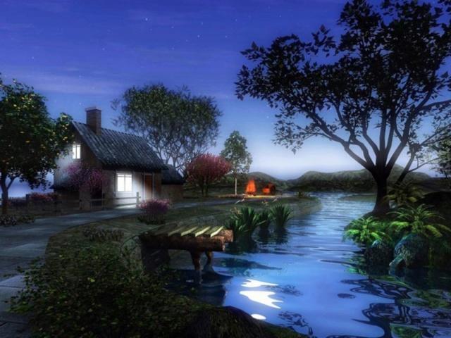 Recueil inédit Voyage au Pays des Rêves ... La Maison au bord de l'eau  Night_10