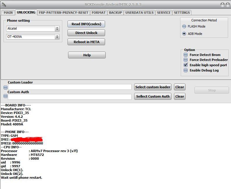 Unlock Alcatel 4009a con ranura bloqueada 4009a_10