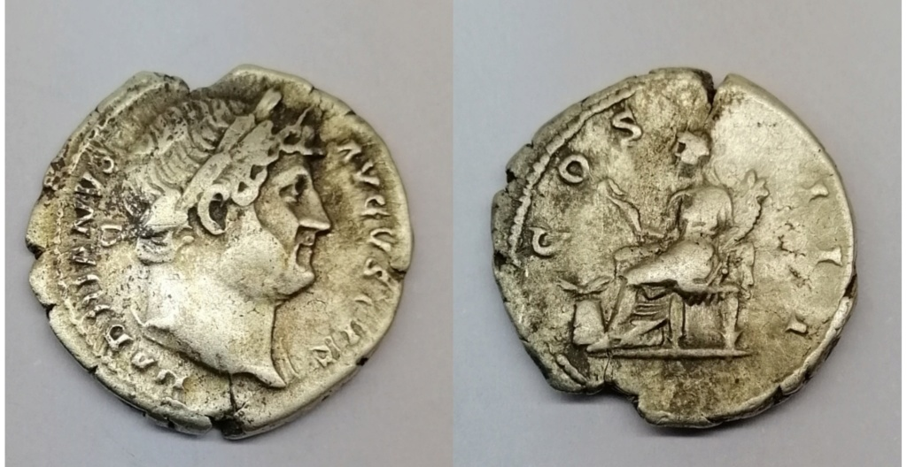 Denario de Adriano. COS III. Abundancia sentada a izq. Ceca de Roma. Img_2075