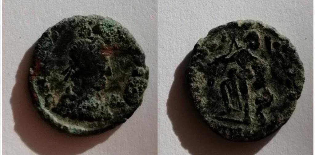 AE4 de Teodosio I. SALVS REIPVBLICAE. Victoria a izq. tirando de cautivo. Img_2088