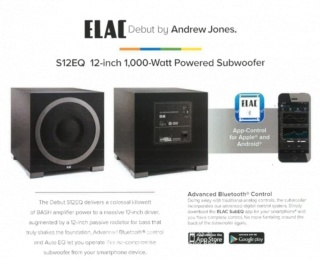 "Elac Debut S12EQ 12"" 1000W Powered Subwoofer Es_416"