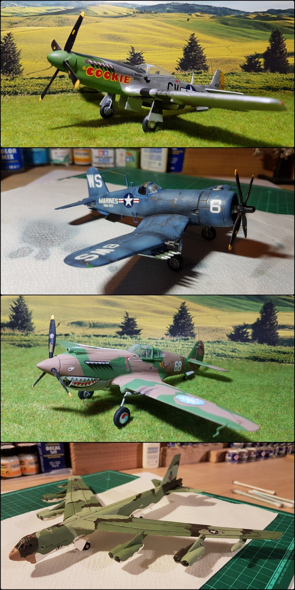 Messerschmitt BF 109-G6, Harbin H5 (Il 28 version chinoise), B25 Mitchell MkII - 1/72 Picsar11