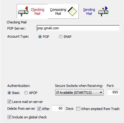 cannot connect to gmail server Pop10