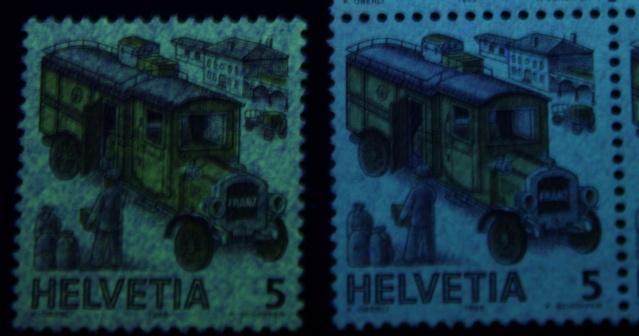 UV Lampen für Schweizer Briefmarken Postfo10