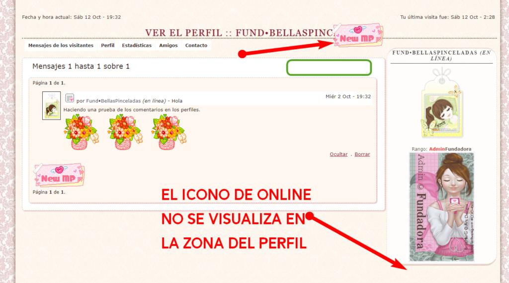 """Necesito que se visualice el icono de """"Online"""" en el perfil y también ajustar la altura del icono de enviar mensaje en la zona: """"Mensaje de los visitantes"""" en el perfil Foro-b34"""