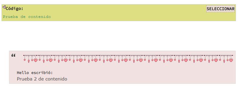 """Como puedo ponerle borde a la caja de codigos: Seleccionar todo (para códigos) y a la caja de """"Citar"""" Screen49"""