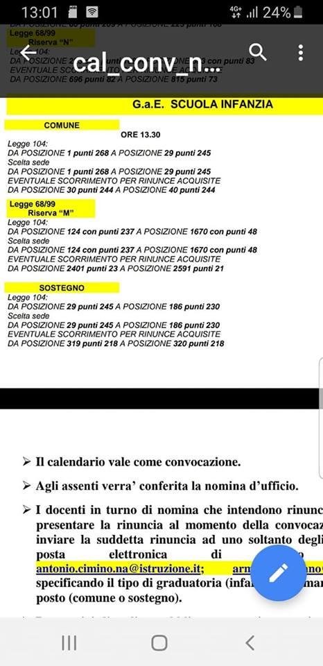Calendario convocazioni immissioni in ruolo da GaE di Napoli 67647710