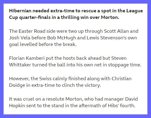 Hibs v Morton - Betfred Cup Screen10