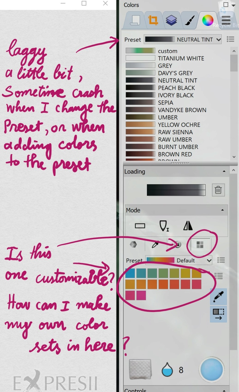 Adding a new color to a color set is laggy, and how to create a custom color swatch? And is it possible to change the paper texture? Ask10