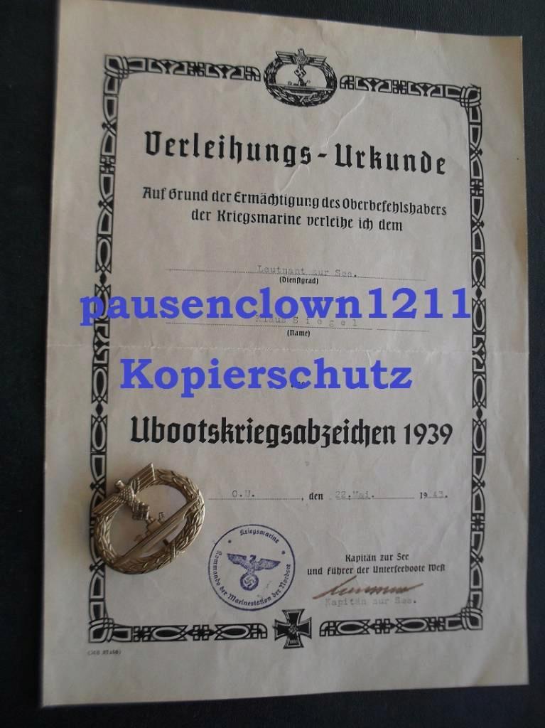 Ubootkriegsabzeichen avec diplome ! I10