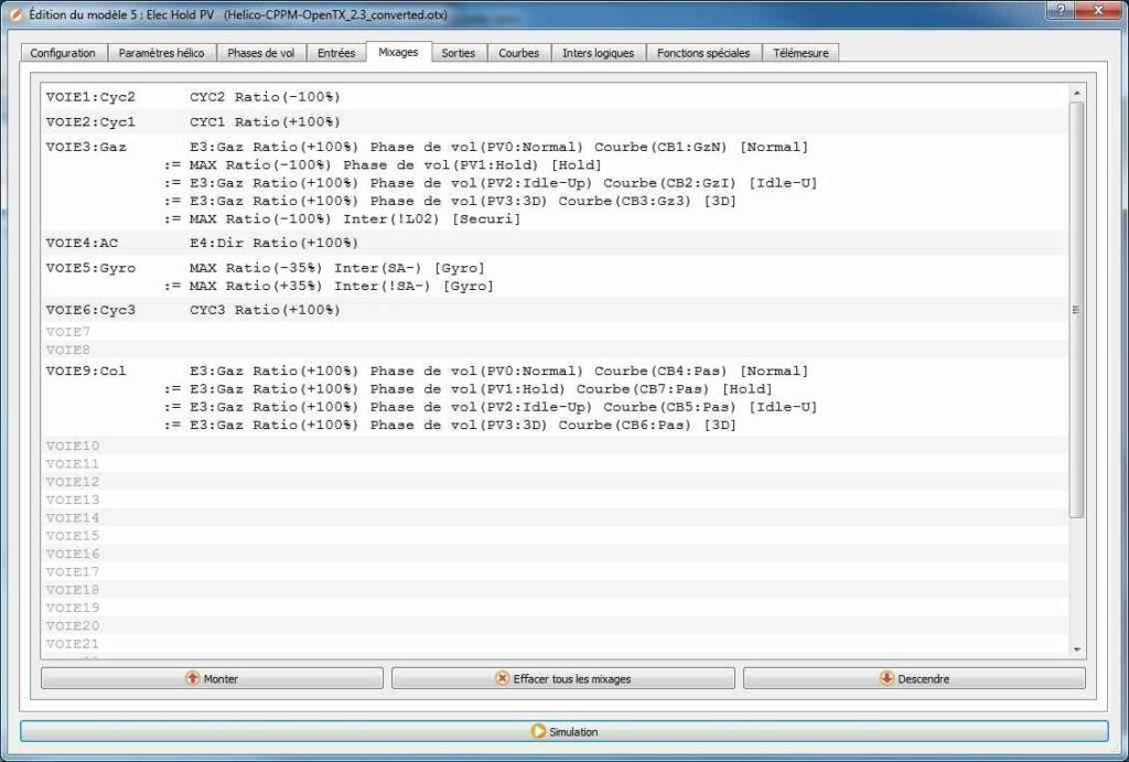 Radiomaster TX16s: Inverser les cross-bars des Widgets Config10