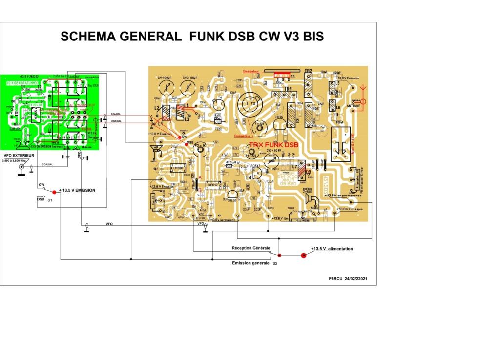 TRANSCEIVER  **FUNK DSB CW ** V3 BIS nouveau Concept Schema17