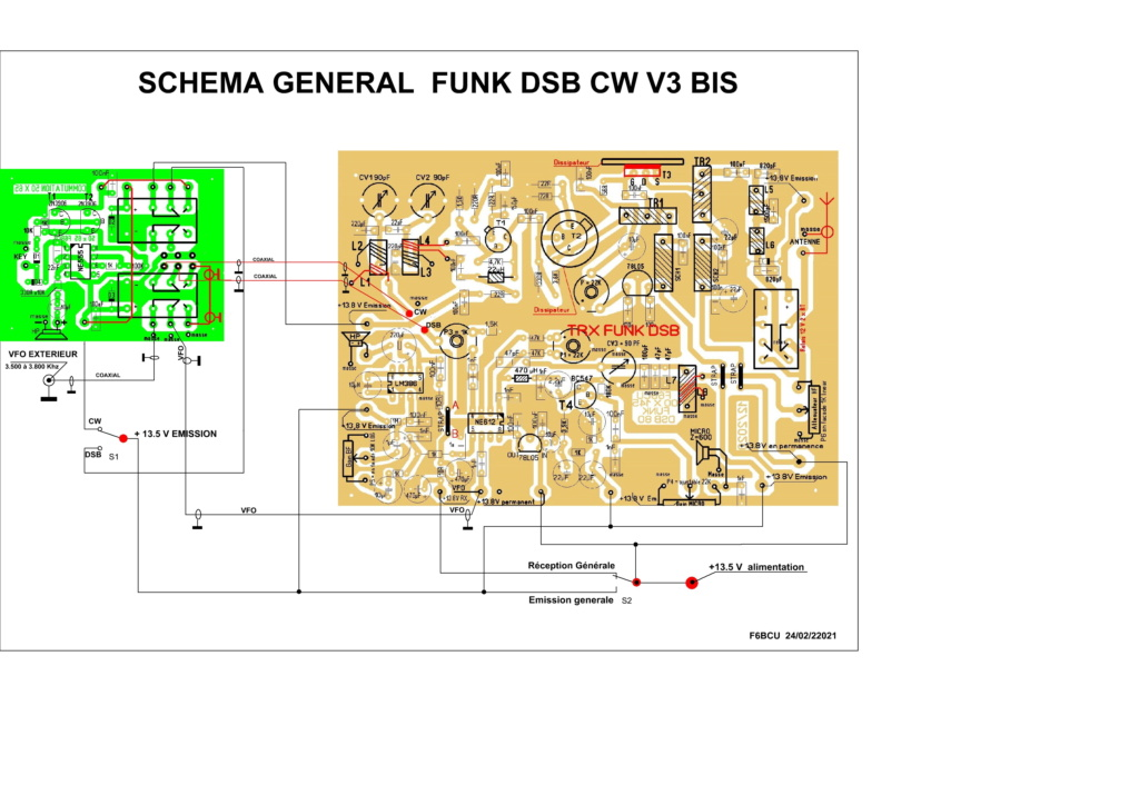 TRANSCEIVER  **FUNK DSB CW ** V3 BIS nouveau Concept Schema20