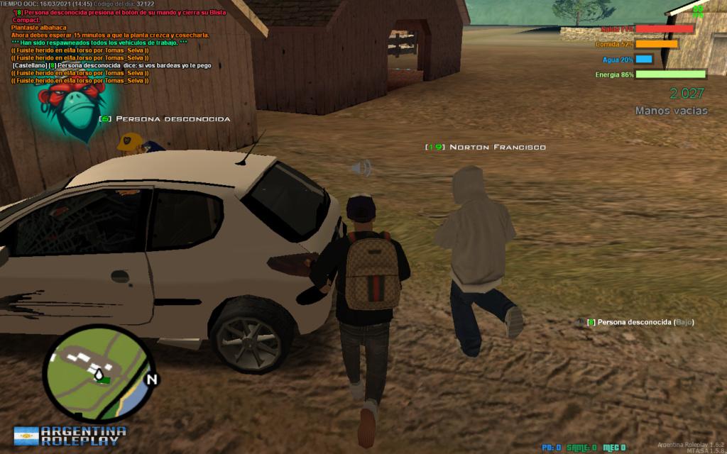 Reporto a Tomas Selva. DM, DM a car, CJ, RK. Mta-sc11