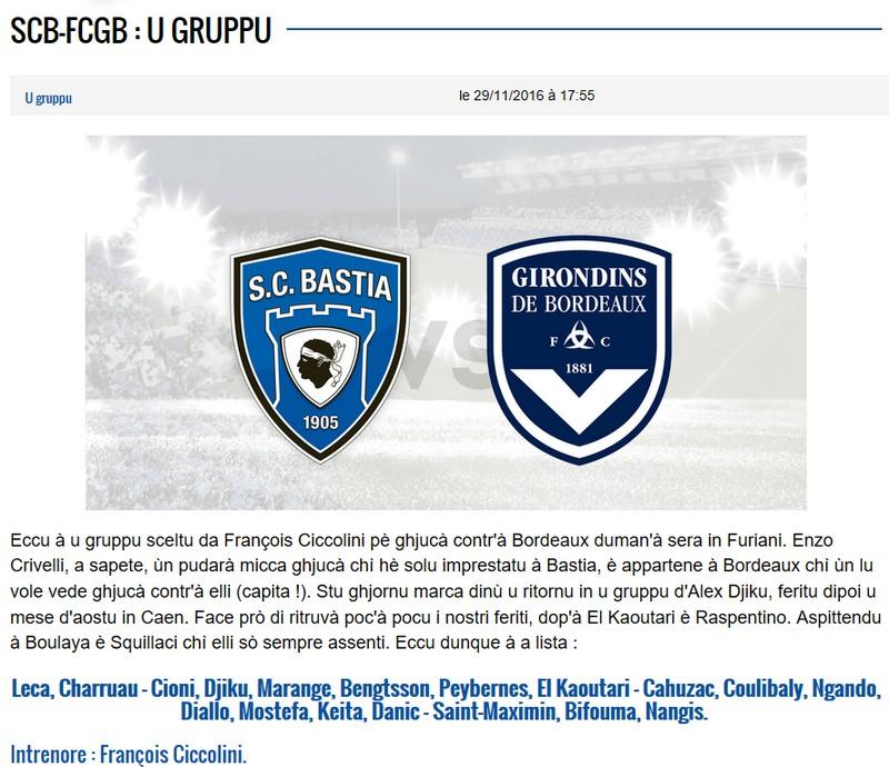 J15 / Jeu des pronos - Prono Bastia-Bordeaux S10