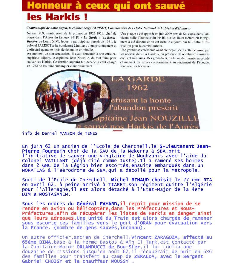 Honneur aux officiers de Cherchell qui ont sauvé des Harkis: s-Lnt Jean-Pierre FOURQUIN, Michel BINAUD, Vincen ZARAGOZA... Honneu10