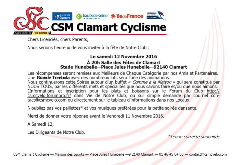 Fête de Notre Club le CSM Clamart Cyclisme Samedi 12 Novembre 2016 Invita15