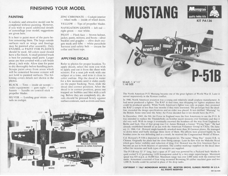 North American P-51B Mustang, Monogram, 1/48, 1999 Img_0405