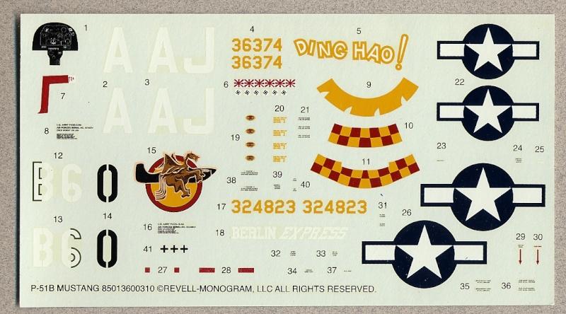 North American P-51B Mustang, Monogram, 1/48, 1999 Monogr11