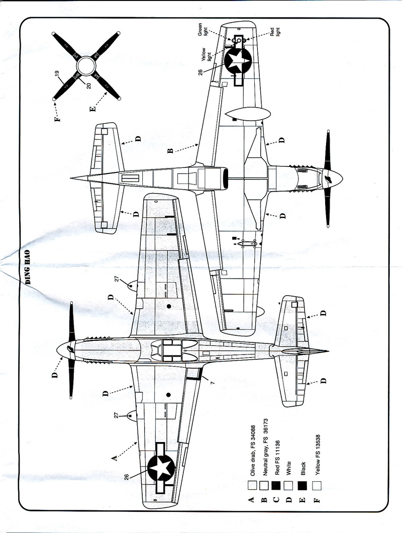 North American P-51B Mustang, Monogram, 1/48, 1999 North_45