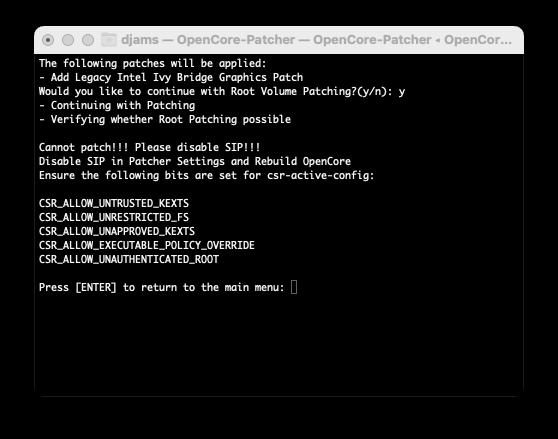 ( RESOLU) OpenCore-Patcher / erreur . 0313