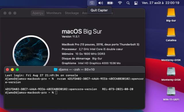 Tuto triple boot macOS avec opencore 073 Capt1185