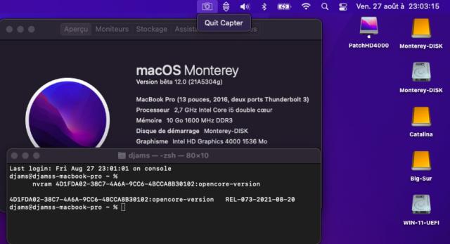 Tuto triple boot macOS avec opencore 073 Capt1187
