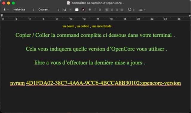 Connaitre sa version OpenCore  Captu565