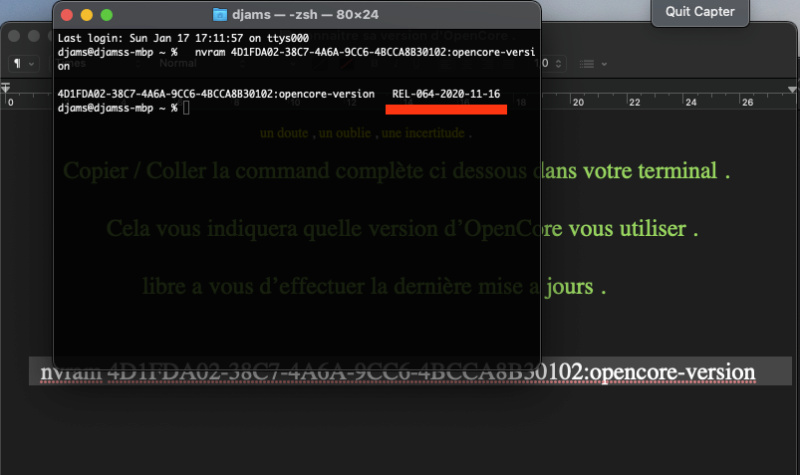 Connaitre sa version OpenCore  Captu566