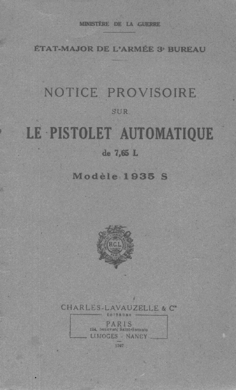 """Pistolet réglementaire MAS Modèle 1935 """"S"""" 1-942711"""