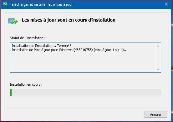 Mise à jour cumulative Windows 10 Maj10