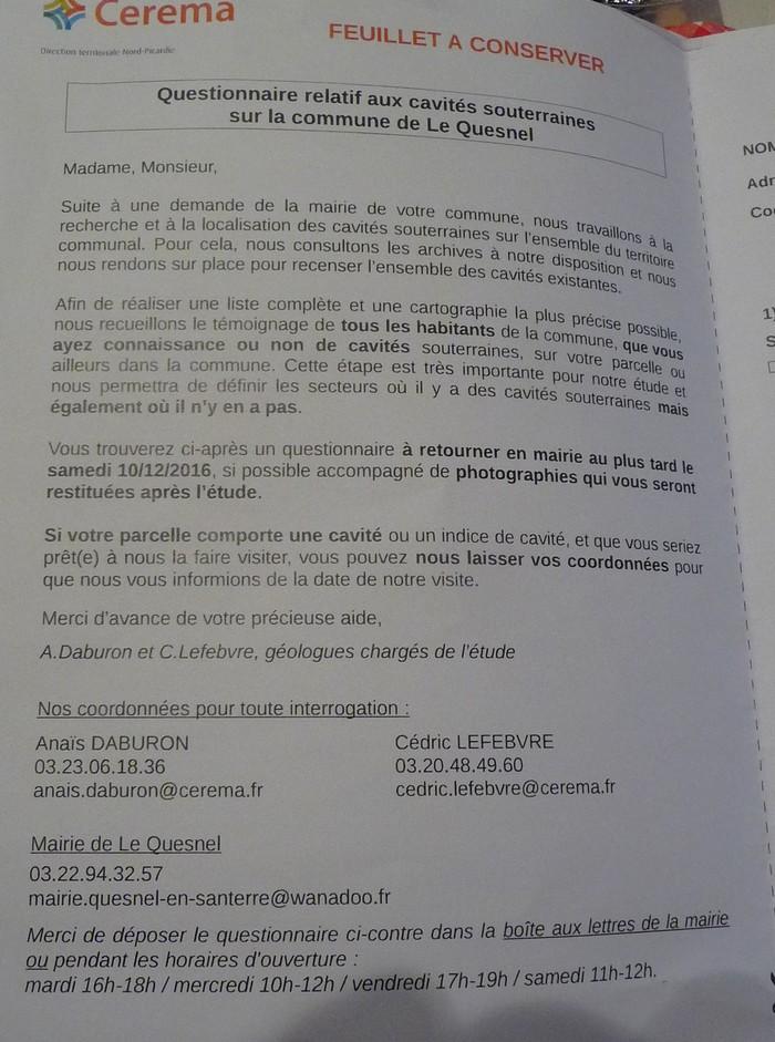 Les sous terrains  refuges de Le Quesnel (souterrains) Cerema10