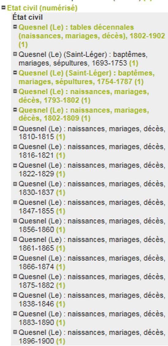 ETAT CIVIL NUMERISE 1800 / 1900 Liste_10