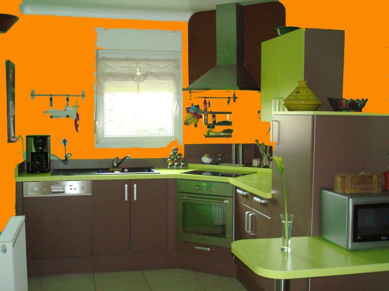 Idées couleur des murs pour cuisine vert amande et chocolat