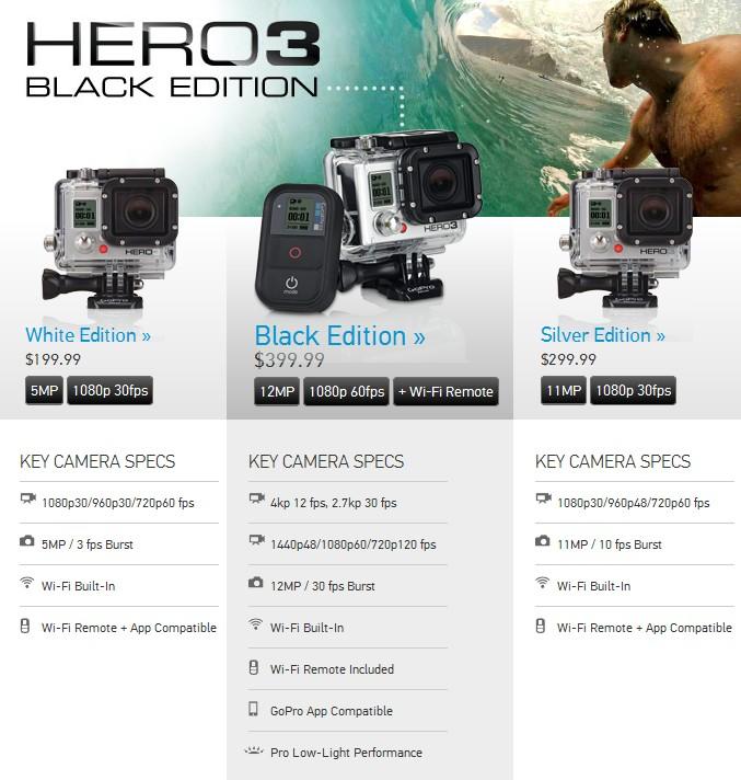 Caméras GoPro HD Hero3 White, Silver et Black Edition Hd3n10