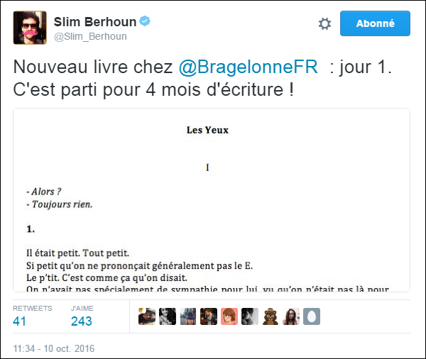 """[Livre] """"Les Yeux"""" écrit par Slimane-Baptiste Berhoun Tweet_10"""