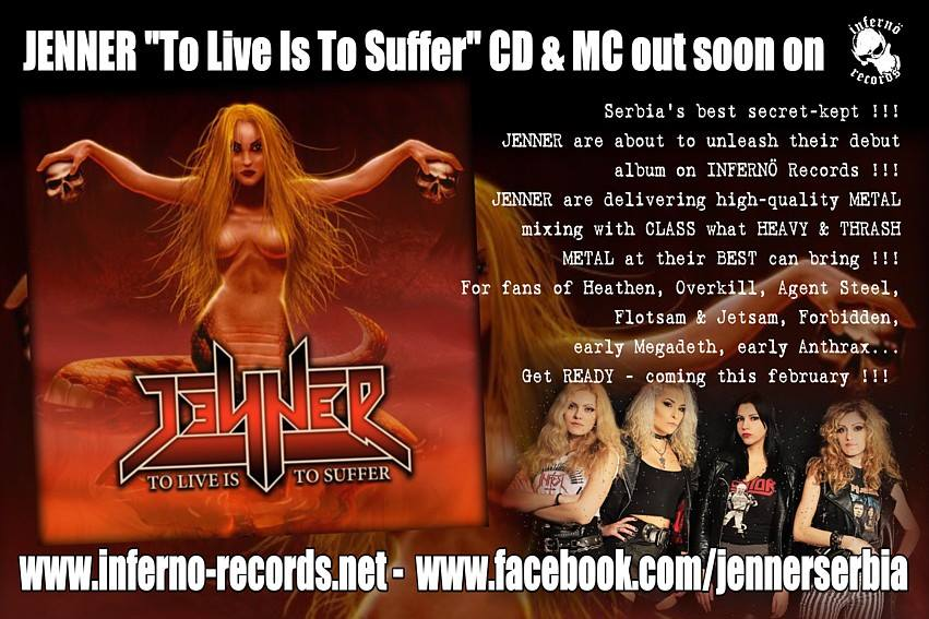 JENNER To Live Is To Suffer (2017) Speed-Metal au féminin SERBIE 16114110