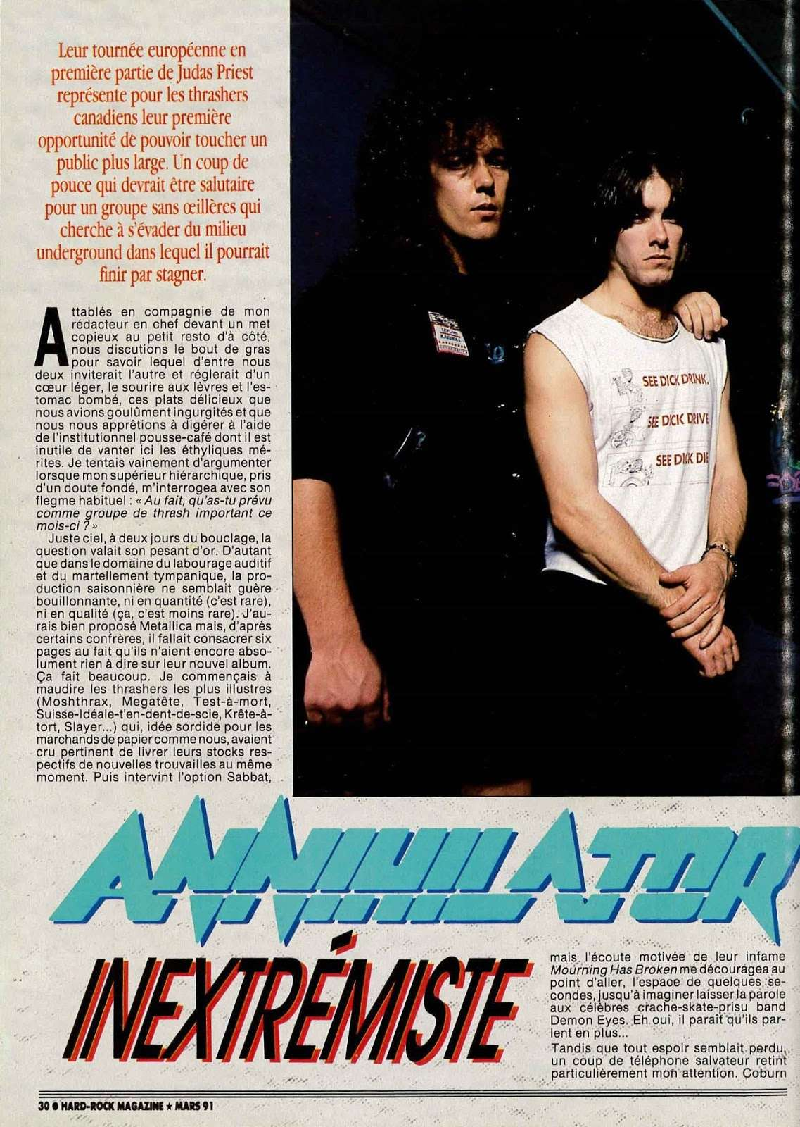 "Interview ANNIHILATOR  ""Hard-Rock Magazine"" Mars 1991. 1admin10"