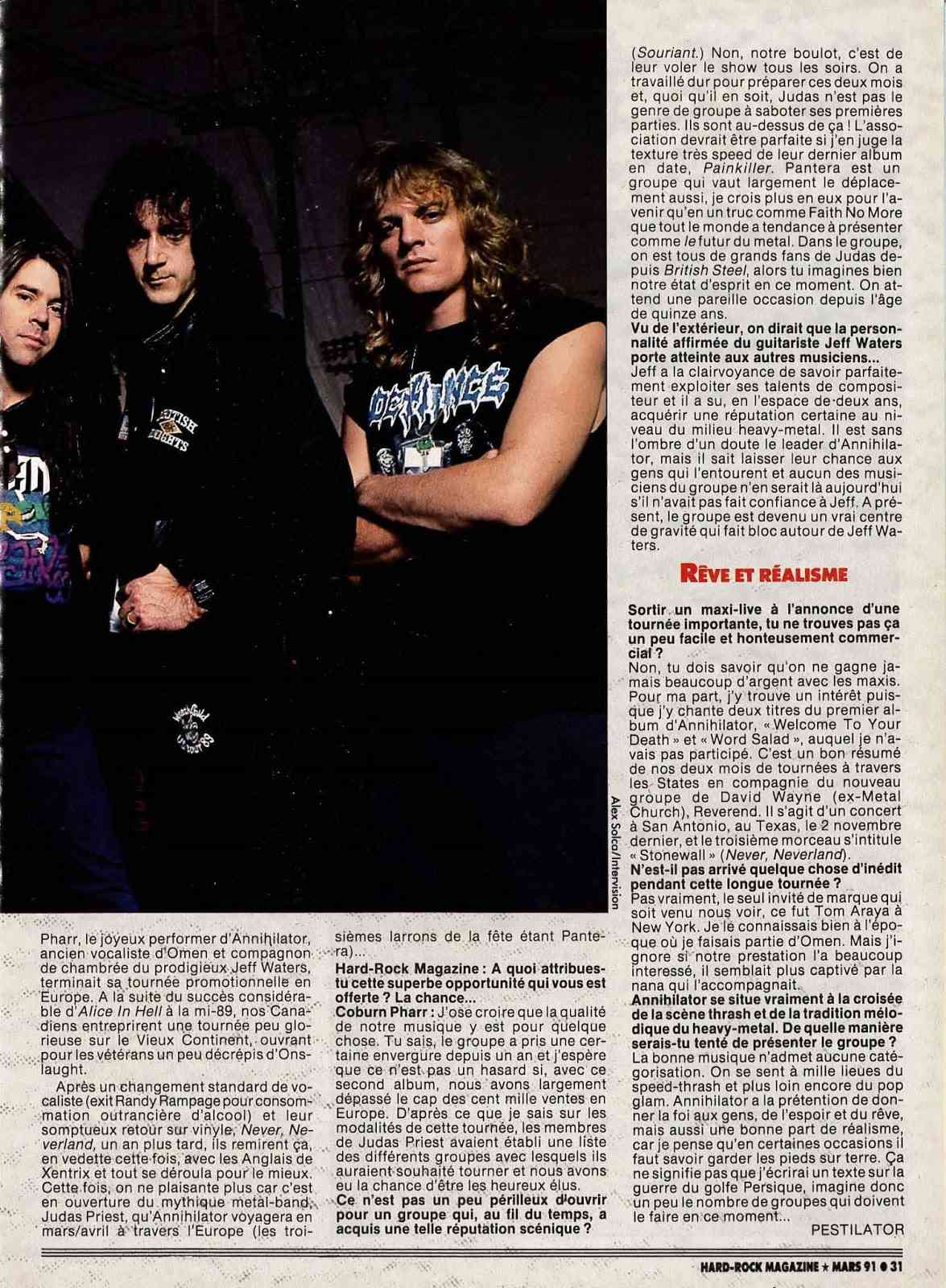 "Interview ANNIHILATOR  ""Hard-Rock Magazine"" Mars 1991. 2admin11"