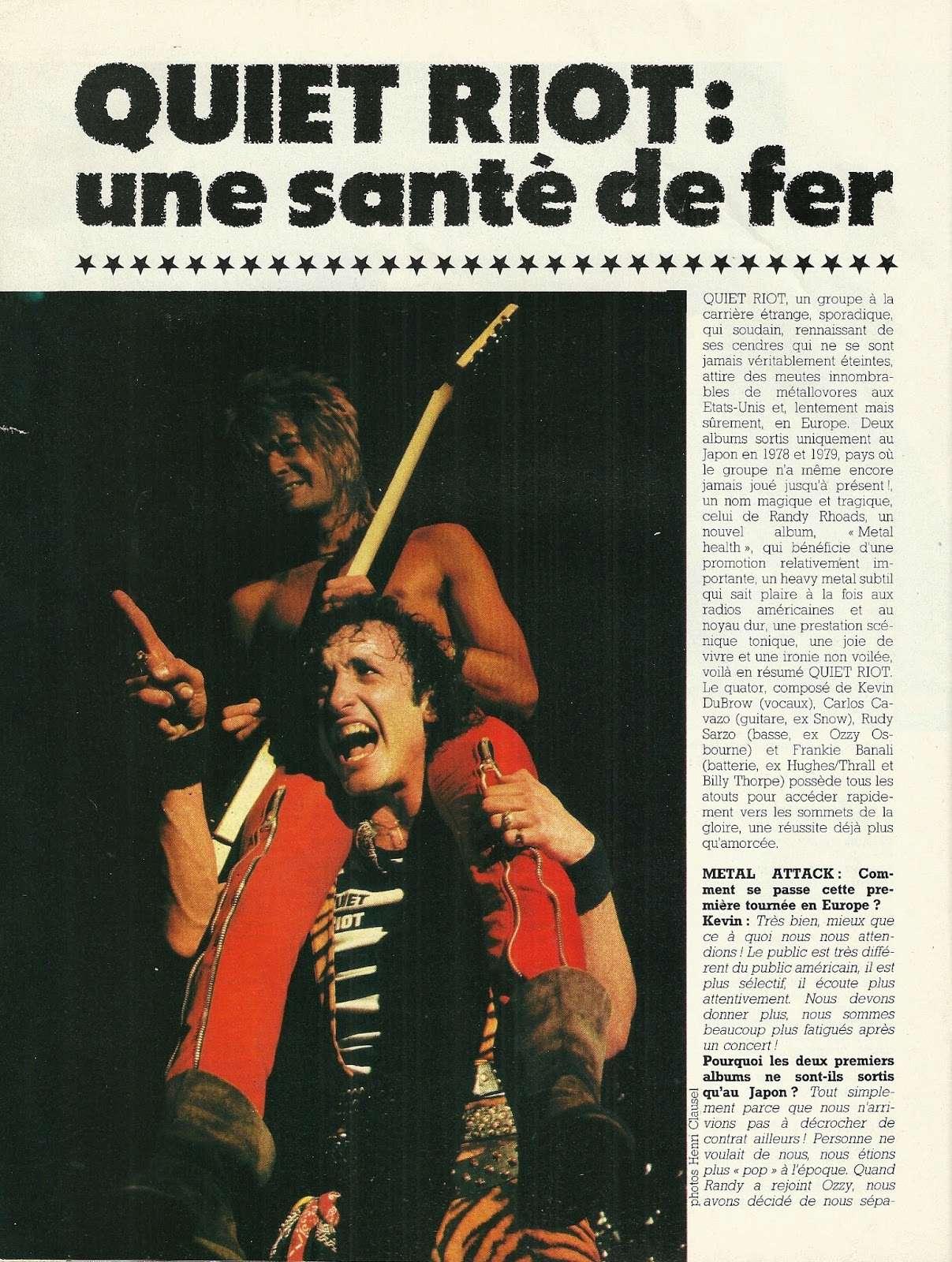 """Interview QUIET RIOT DANS """"Metal Attack"""" Février 1984. Numyri10"""