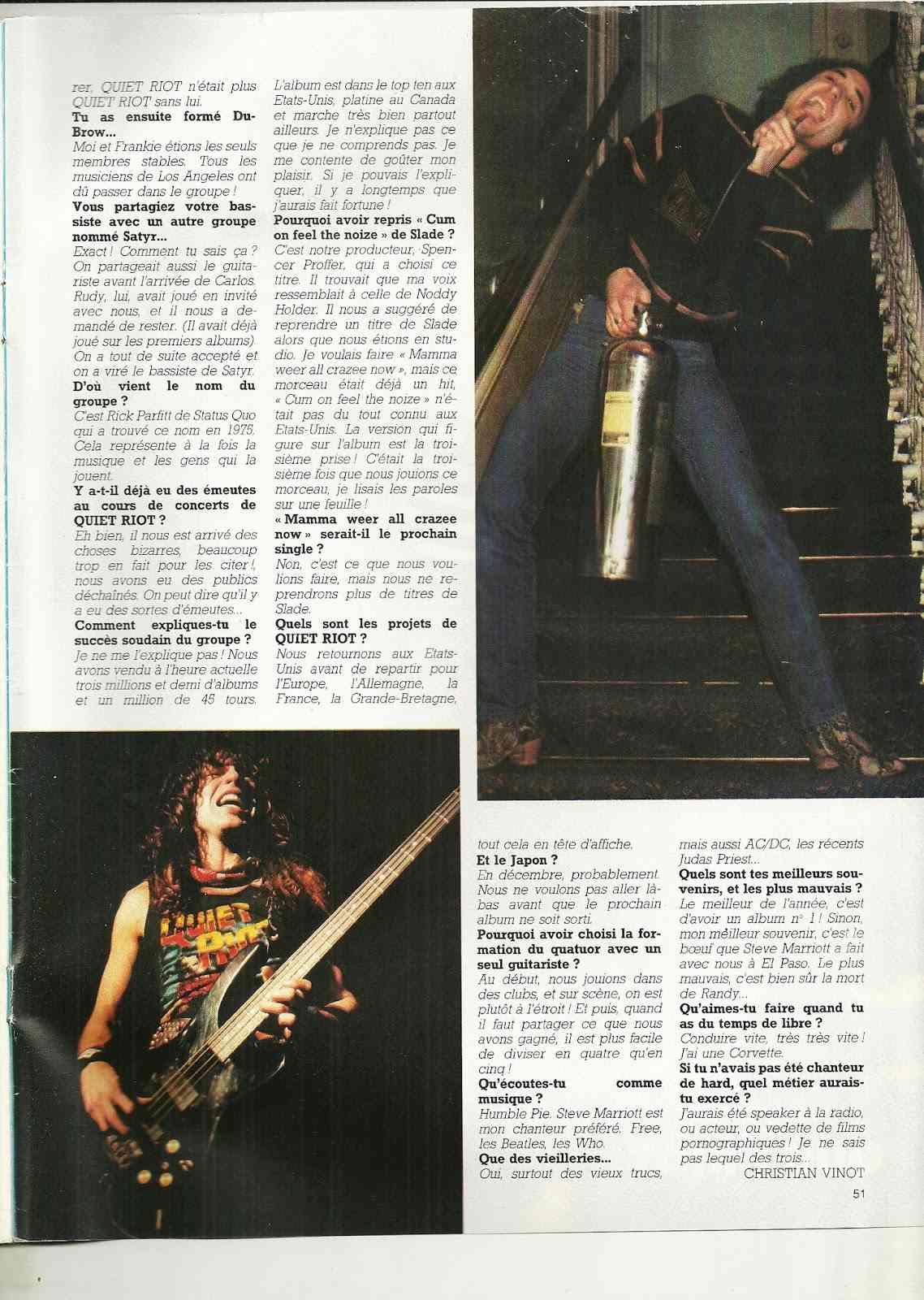 """Interview QUIET RIOT DANS """"Metal Attack"""" Février 1984. Numyri11"""