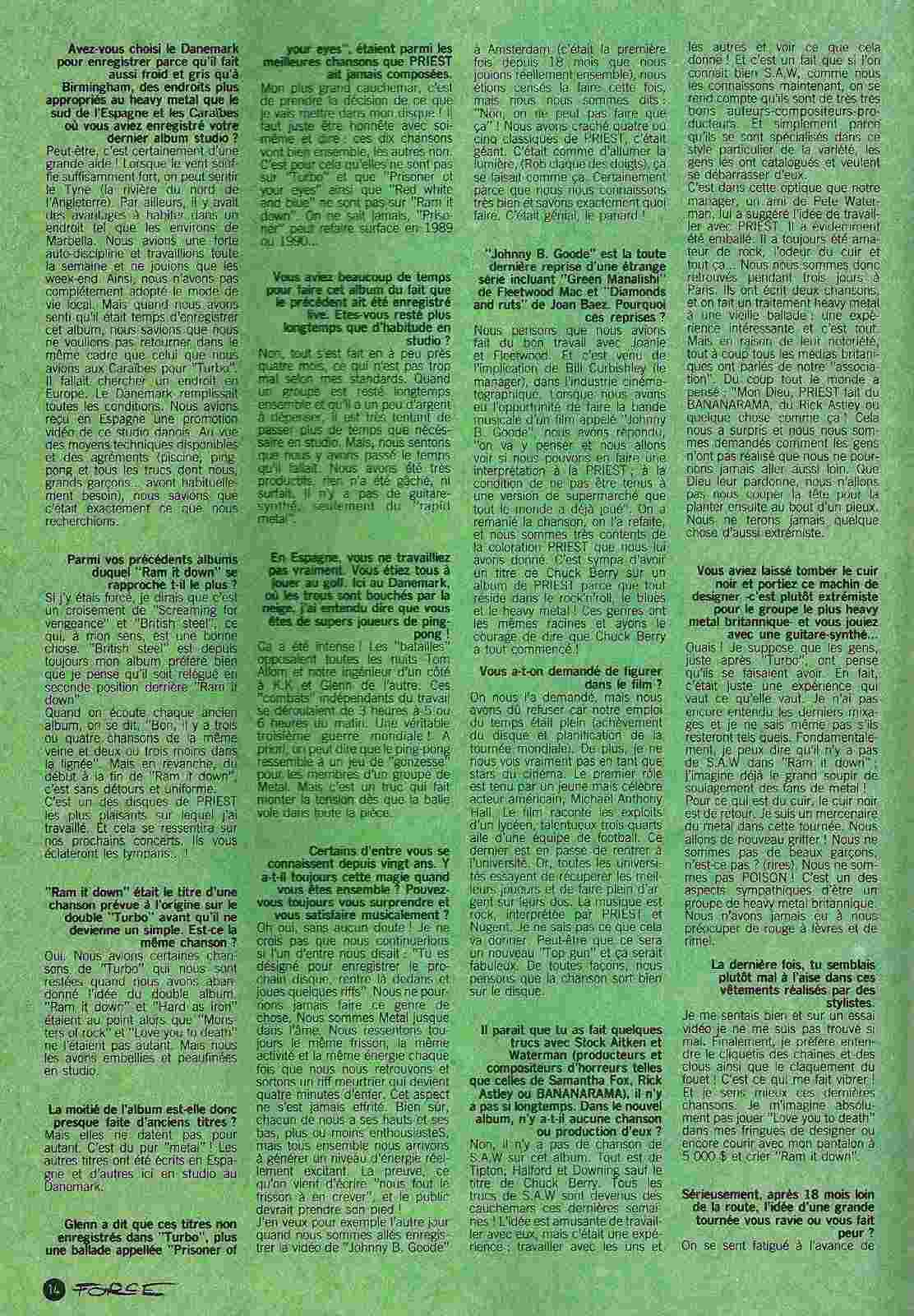 RAM DAM CHEZ PRIEST par Sylvie Simmons (Hard Force Mai 1988) Numyri17