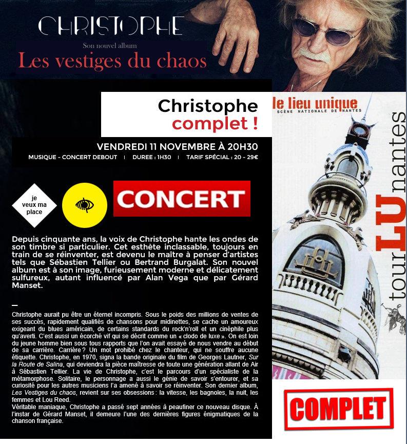 """""""CHRISTOPHE en concert ce soir"""" LE LIEU UNIQUE, NANTES Captur12"""